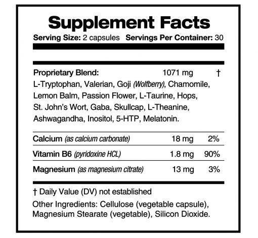 Deep Sleep - Supplement facts panel