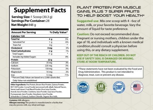 Plant Protein, Plus 7 Super Fruits