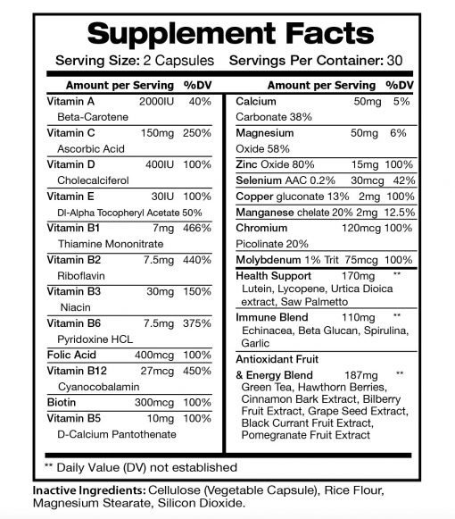 Multi Plus - Supplement facts panel