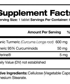 Tumeric Protect with BioPerine® - Supplement facts panel